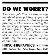 Hirsch Graphics AdvertTangents, March 1966, p. 18