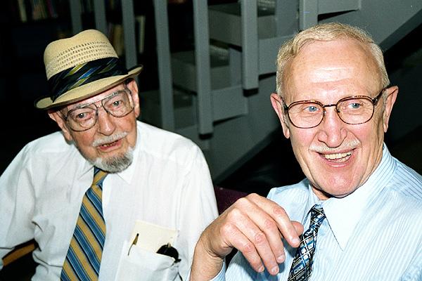 Jim Schneider and George Mortenson, June 18, 2001.Photo by John Richards